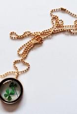 Crowdfunding heldig firkløver medaljon (sølv / læder / krystal)