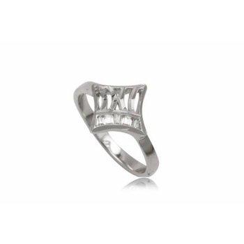 Aparte zilveren ring met zirkonia