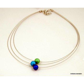 Mooi sieraden Blauwgroene bolletjes ketting van MOOI sieraden