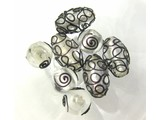 Assorted Glass Beads - Black/Silver