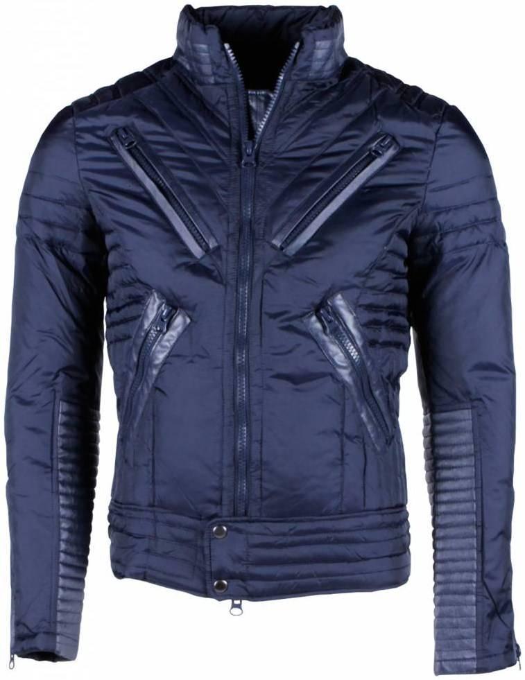 Next Style Winterjassen - Heren Winterjas Kort - Motor Jack - Duck Down - Blauw