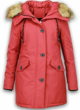 Adrexx Bontjassen - Dames Winterjas Middel - Canada Style - Bontkraag - Rood