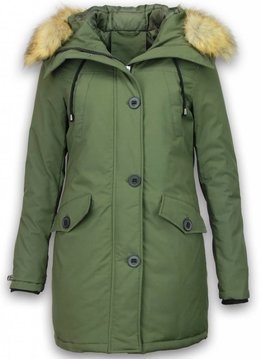 Adrexx Bontjassen - Dames Winterjas Middel - Canada Style - Bontkraag - Groen