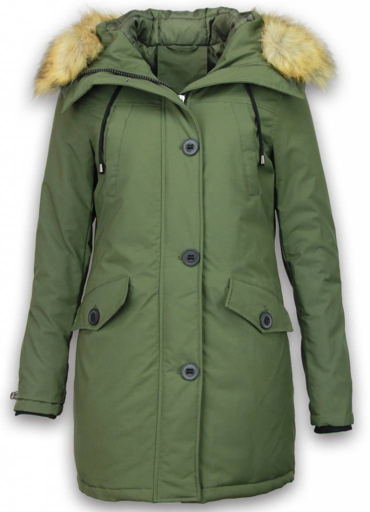 Adrexx Winterjassen - Dames Winterjas Middel - Canada Style - Kunstkraag - Groen