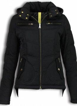 Milan Ferronetti Winterjassen - Dames Winterjas Kort - Basic Fit Exclusive - Zwart