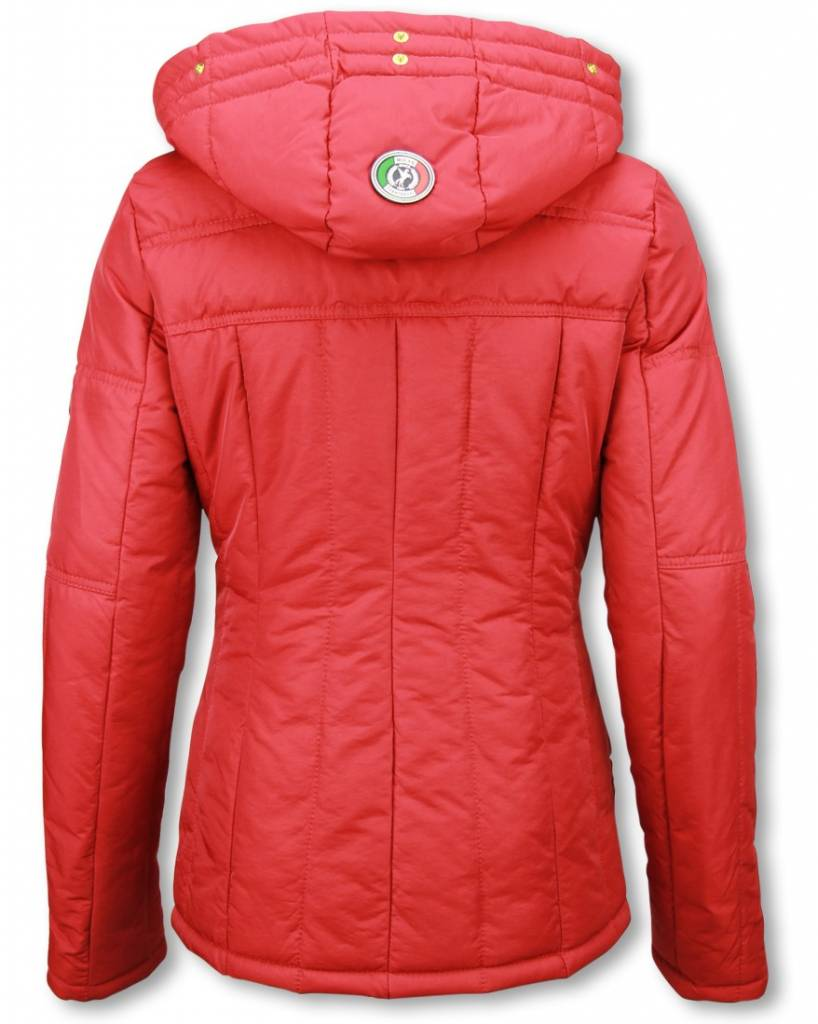 Dames Winterjas.Winterjassen Dames Winterjas Kort Beads Edition Rood