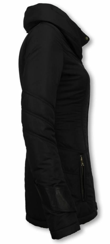 Milan Ferronetti Winterjassen - Dames Winterjas Halflang - Regular Slim - Fit Edition - Zwart