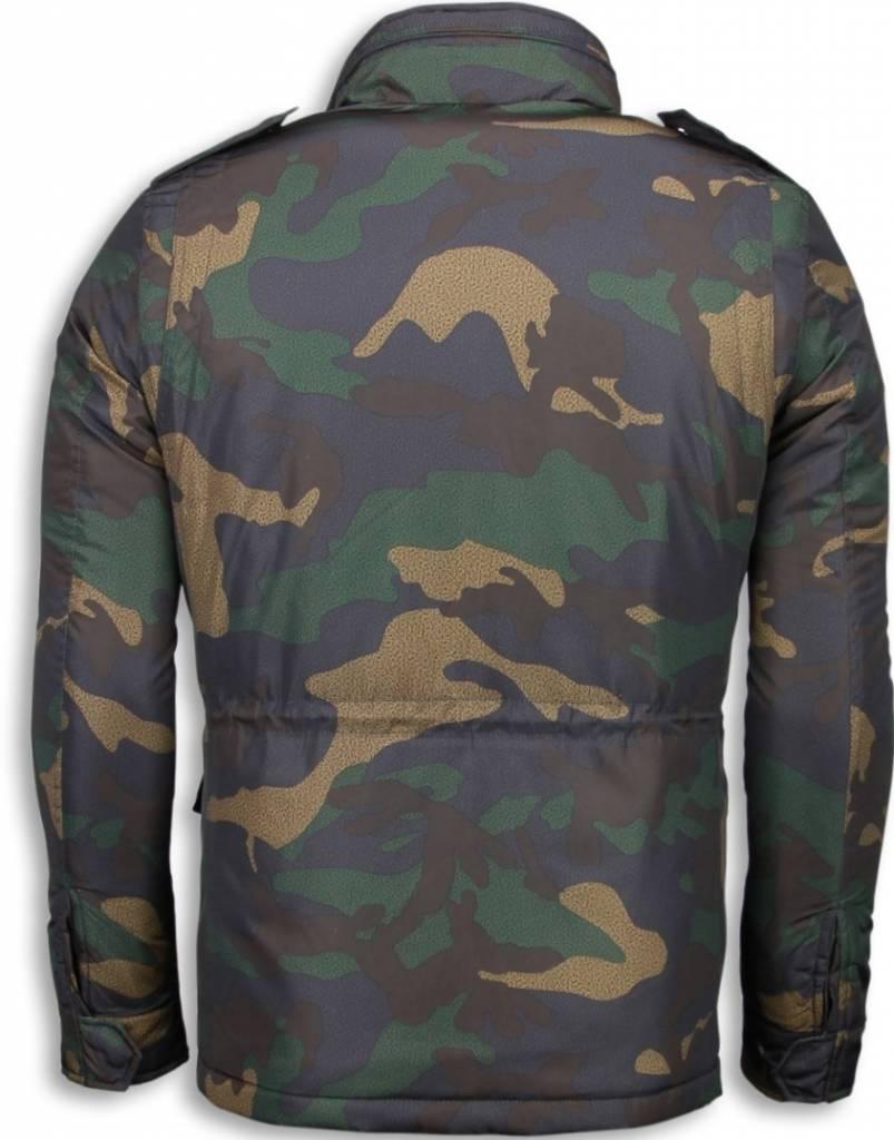 Enos Winterjassen - Heren Winterjas Kort - Camouflage Jack - Groen