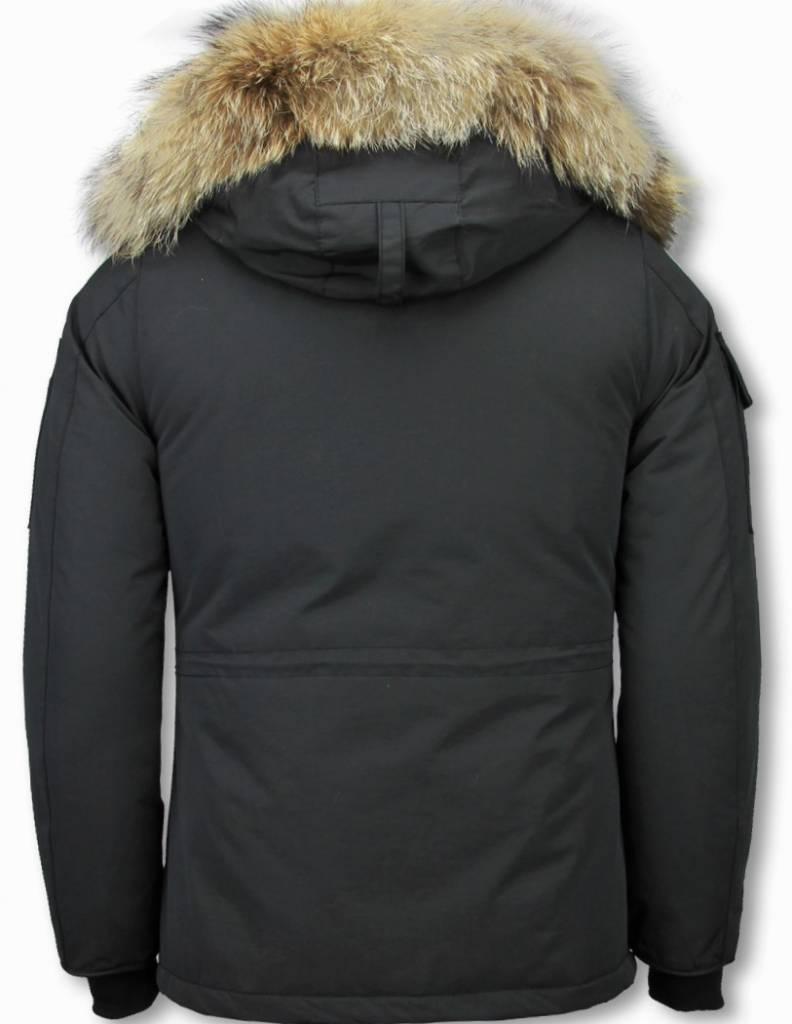 Matogla Winterjassen - Dames Winterjas Halflang - Kunstkraag - Expedition Parka - Zwart
