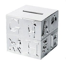 Spaarpot verzilverd kubus groot