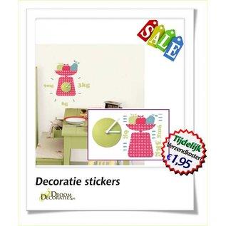 Uitverkoop SALE Wandklok met fruit muurdecoratie stickers