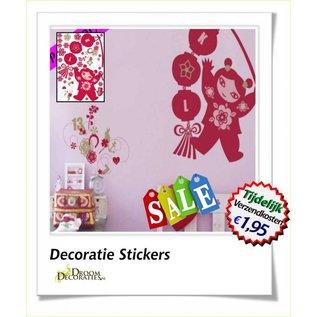 Herbruikbare Muurdecoratie stickers. model: Lucky Girl