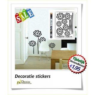 Uitverkoop SALE Bloemen muur-, meubel decoratie stikkers model: Zwarte bloem op langesteel