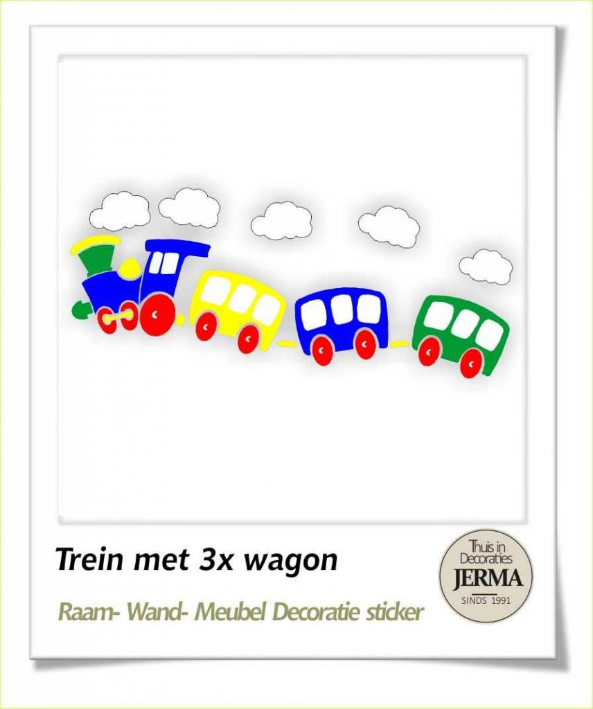 Raam-, Wand decoratiesticker Trein met wagon als muurdecoratie ...