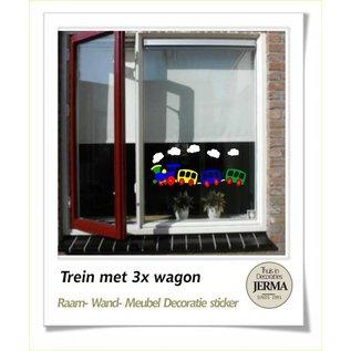 JERMA Trein met wagon als muurdecoratie raamdecoratie stickers