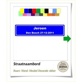 JERMA Straatnaambord, decoratie sticker.
