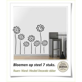 Raam-, Wand decoratiesticker Bloemen op steel decoratie.