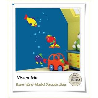 JERMA Vissen raamdecoratie, wanddecoratie stickers set van 3 vissen plakkers