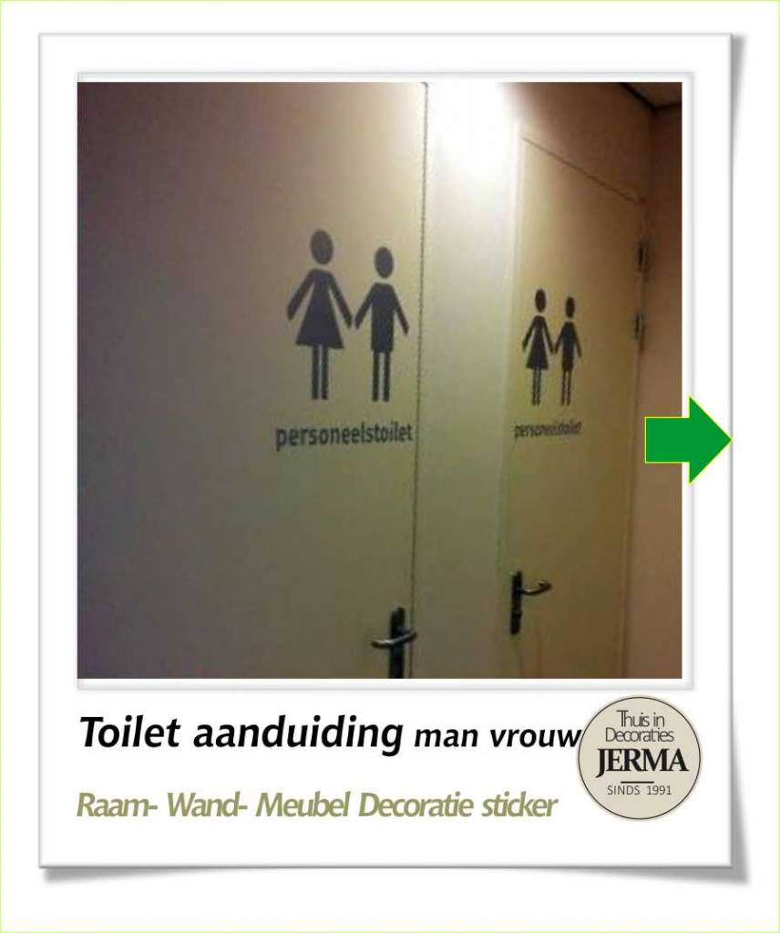 Jerma toilet zelfklevend symbool pictogram man vrouw toilet tekst stickers for Decoratie wc