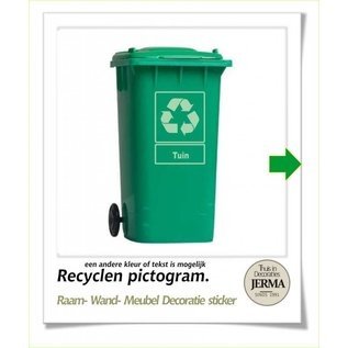 JERMA Recyclen pictogram symbool stickers kliko sticker inzamelpunt container sticker