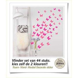 JERMA Vlinder set van 44 decoraties.