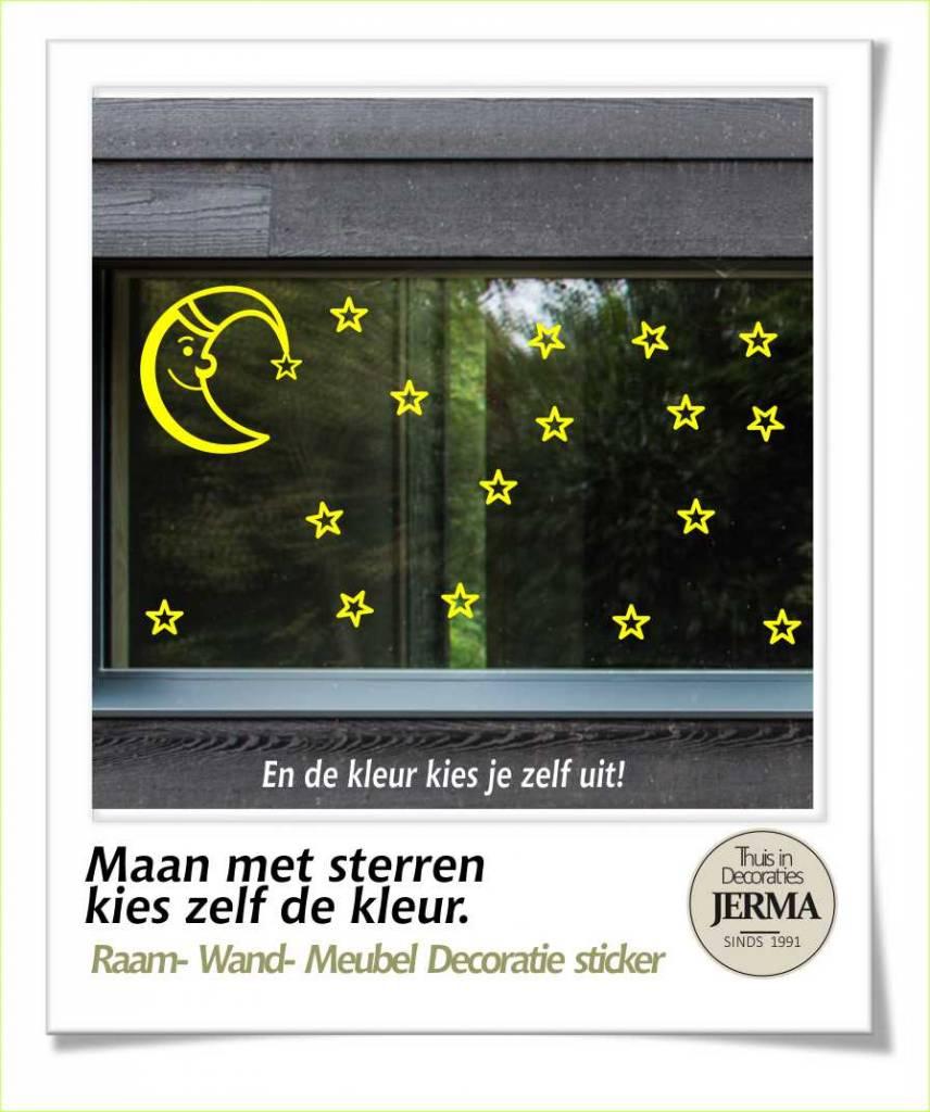 Jerma maan met sterren decoratie set voor het decoreren van de ramen wanden of meubels - Decoratie geel ...