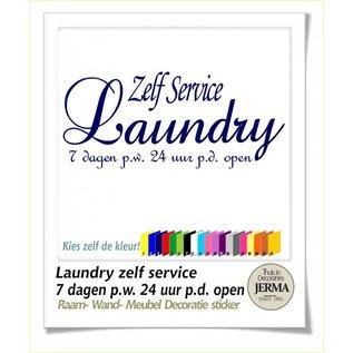 JERMA Plakbare tekst voor op de wand, deur of je meubels. Muurtekst: Zelf service Laundry 7 dagen p.w. 24 uur p.d. open