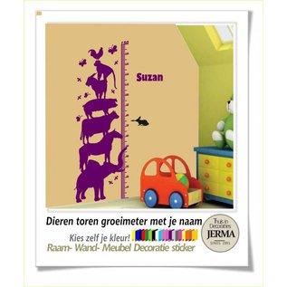 JERMA Meetlat, groeimeter. Dierentoren decoratie sticker kinderkamer boerderij plakkers