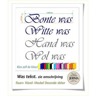 JERMA Was tekst Bonte was, Witte was, Hand was of Wol was als plakbare tekst
