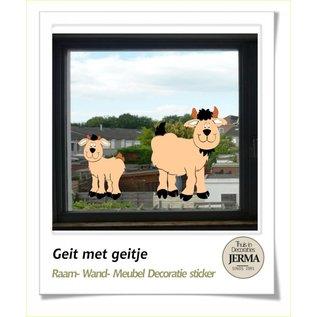 JERMA Geitje met jong, boerderij decoratie stickers voor op de wanden, meubels of de raam.