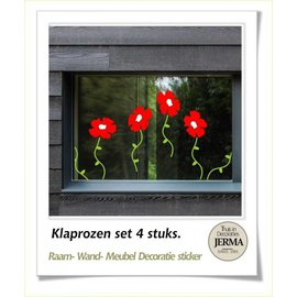 Raam-, Wand decoratiesticker Klaproos, decoraties.