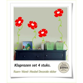 JERMA Raamdecoratie, wanddecoratie stickers Klaproos, papaverbloem raamdecoratie klevers