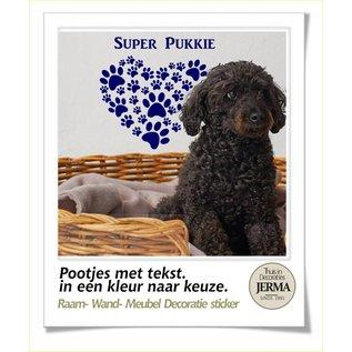 JERMA Honden Pootjes in hartjes vorm met een eigen tekst.