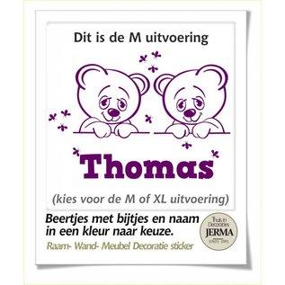 JERMA beren duo decoratie met naam en bijtjes. wandsticker, Raamdecoratie, Geboorte sticker