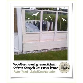 Raam-, Wand decoratiesticker Vogel raamstickers (6 stuks)
