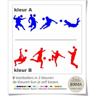 JERMA Voetballer decoratiestickers in 2 voetbalclub kleuren.