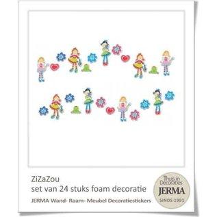 Uitverkoop SALE 24 decoraties met de 3 Hippe dametjes Zi, Za en Zou