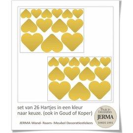 JERMA Hartjes set van 26 stuks decoraties.
