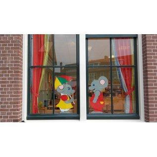 JERMA Muis Pa als raamdecoratie, interieurdecoratie stickers
