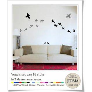 JERMA Vogel raamstickers set 14 vogelstickers in 2 kleuren naar keuze.