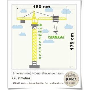 JERMA Groeimeter, Hijskraan (XXL afmeting). met je naam voor op de wand of meubels.