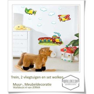 Walldecor Kinderkamer muurdecoratie Trein, Vliegtuig & wolken decoratie set.
