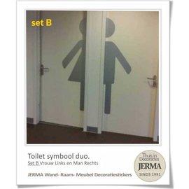 JERMA Toilet sticker (halve) Man & Vrouw.