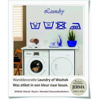 JERMA wassymbolen sticker washok Laudry washok tekst met pictogram wasgoed etiketjes