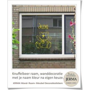 JERMA Muursticker Beer babykamer met naam decoratiesticker