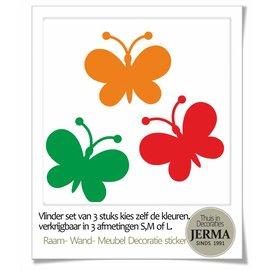 JERMA Vlinder decoratie set van 3 stuks