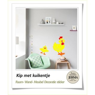 JERMA - Decoratie Kip met kuiken als raamsticker of muurdecoratie sticker set