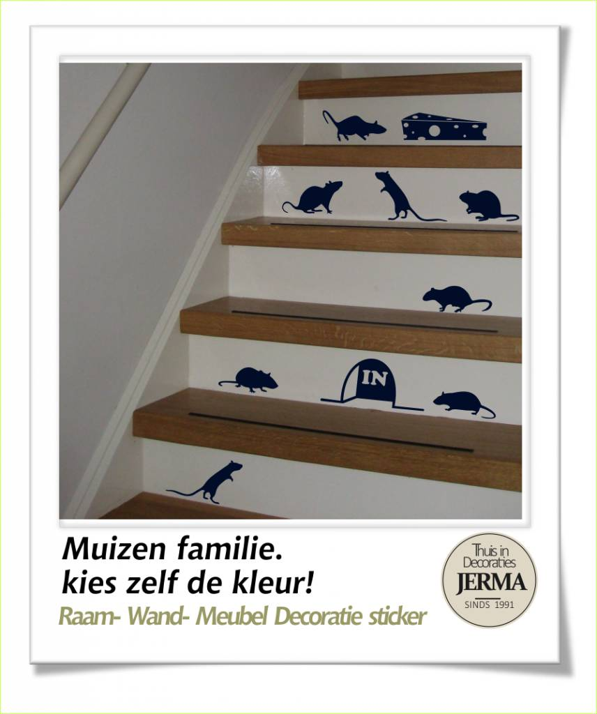 Jerma decoratie muizen familie decoratie stickers muis stickers op de trap - Deco trap ...