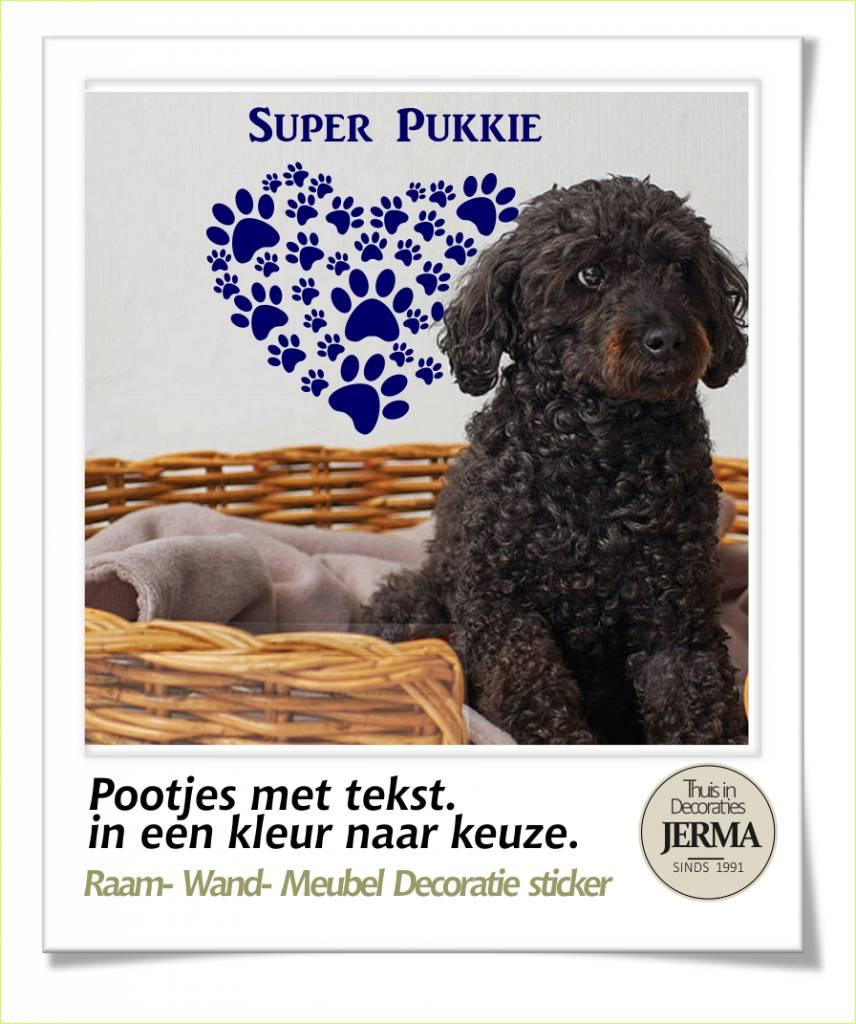 JERMA   Decoratie hondenhok sticker dieren decoratie Pootjes in hart vorm met tekst