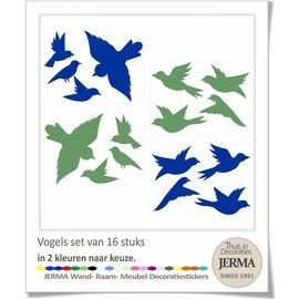 JERMA - Decoratie Vogel raamstickers set in 2 kleuren